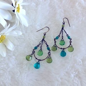 *3/$10* Green and Gold Chandelier Earrings